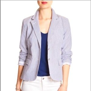 Banana Republic Gray Stripe Academy Blazer jacket